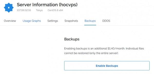Bạn click vào tab Backups rồi chọn Enable Backups