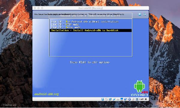 Chọn Install Android x86 to Hard Disk và Enter để tiếp tục