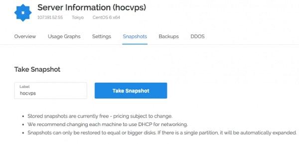 Click chuột tới Take Snapshot rồi nhập mô tả và click restore