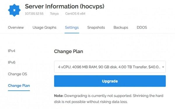 Đầu tiên bạn click vào setting rồi chọn change plan và click Upgrade là hoàn thành