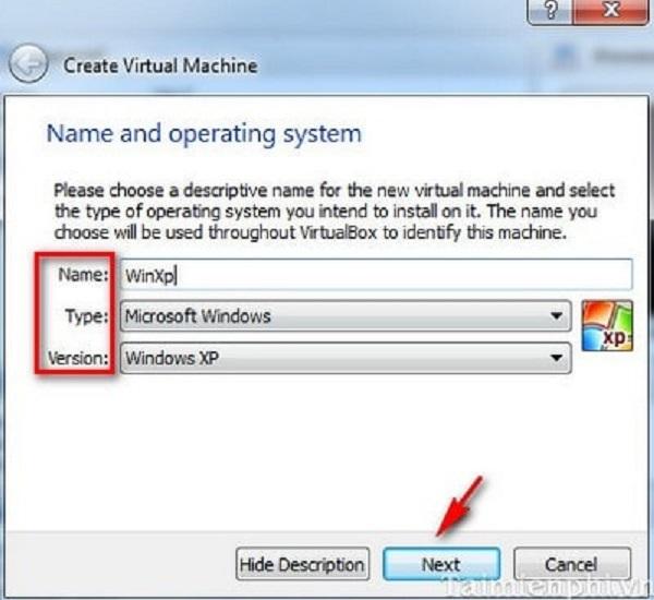 Mở hộp thư thoại và điền thông tin vào ô name, type, version