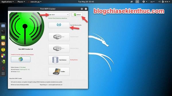 Nhấn Refresh để phần mềm nhận diện các phần cứng mạng có trong máy