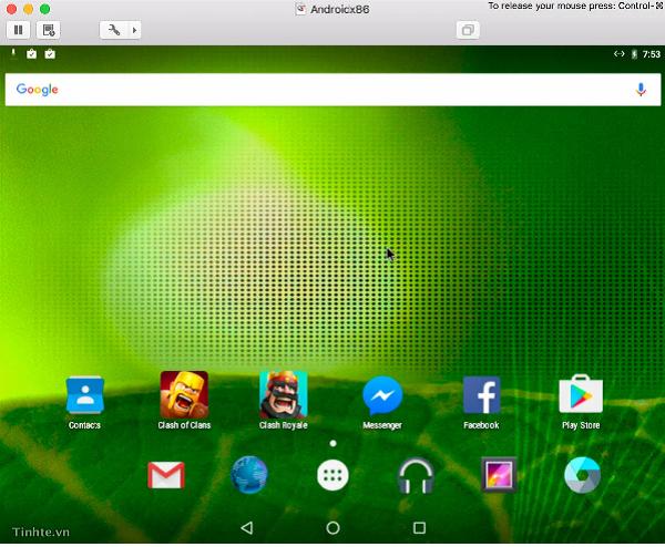 Sau khi setup tài khoản Google đầy đủ sẽ xuất hiện màn hình chính của Android và có sẵn Google Play