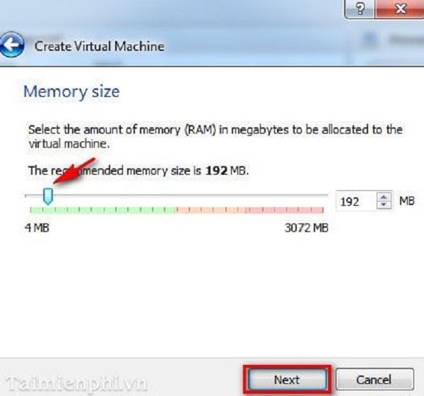 Thiết lập bộ nhớ ram và nhấn Next