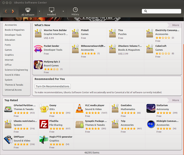 Ubuntu Software Center là kho ứng dụng khổng lồ