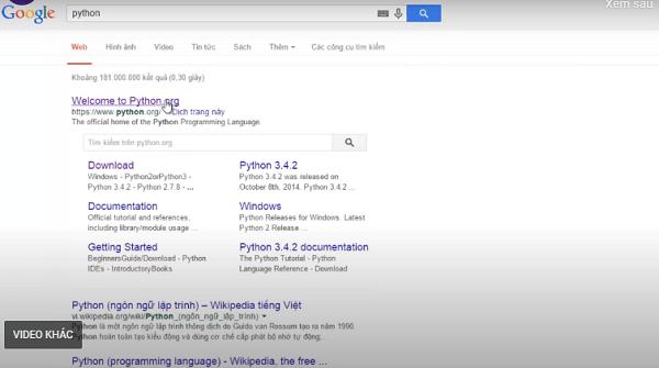 Truy cập google và nhấp vào đường link chính chủ để tải công cụ