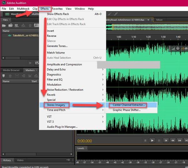 Bạn click chuột vào Effects rồi tiếp tục chọn Stereo Imagery và click Center Channel Extractor