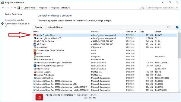 Bây giờ bạn chỉ cần click vào Adobe Creative Cloud là gỡ bỏ được