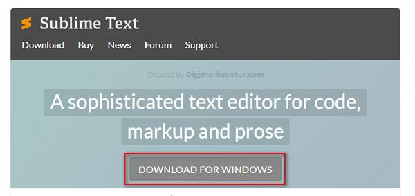 Nhấn vào Download For…tải Sublime Text về máy