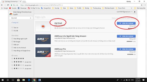 """Nhấn vào nút thêm vào Chrome và thêm tích ích """"Lấy Email"""""""
