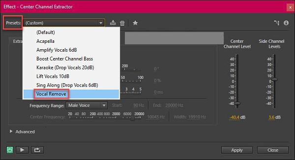 Tại giao diện mới bạn chọn Presets rồi click chọn Vocal Remove