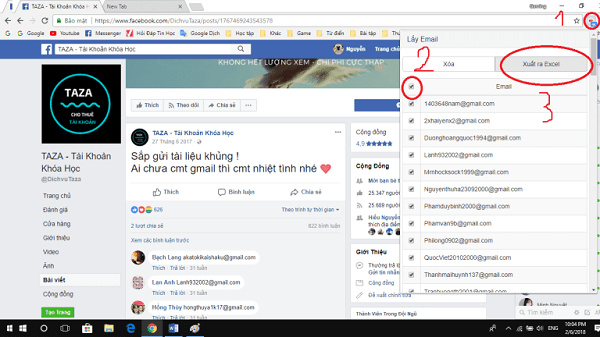 Xuất địa chỉ email lọc từ comment facebook