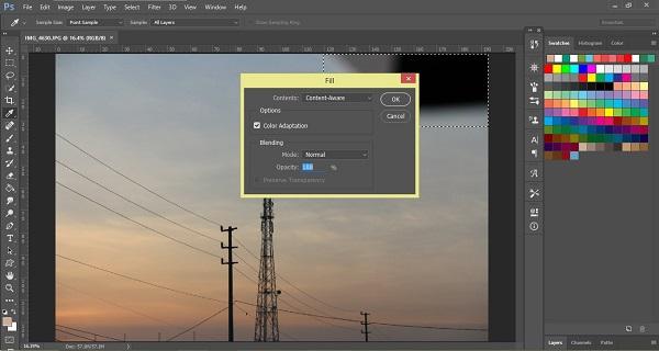 Hoàn tất quá trình xóa vật thể trong photoshop