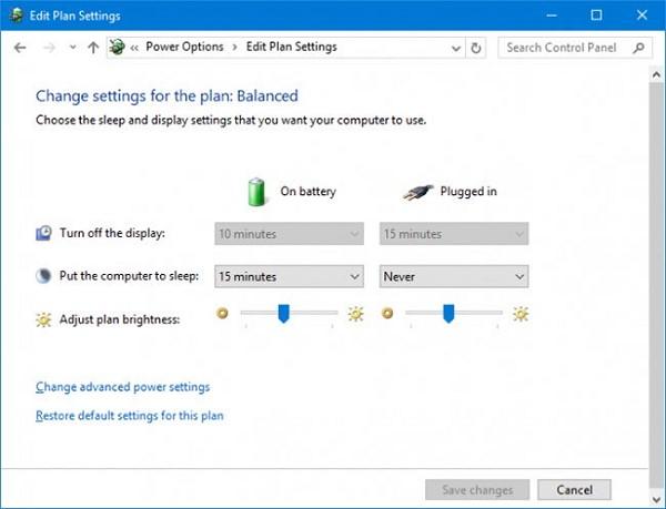 Sử dụng Control Panel để giảm độ sáng màn hình máy tính