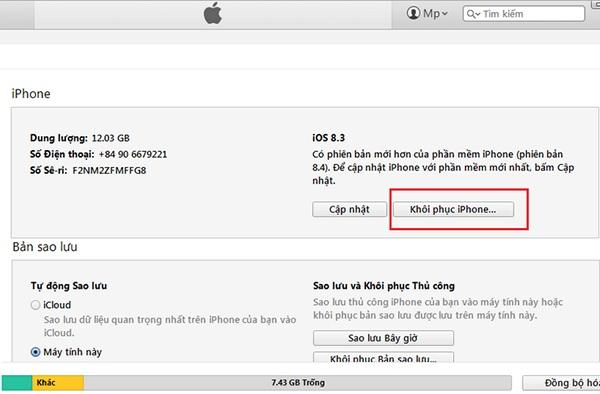 Khôi phục iPhone đối với trường hợp điện thoại đã từng được đồng bộ